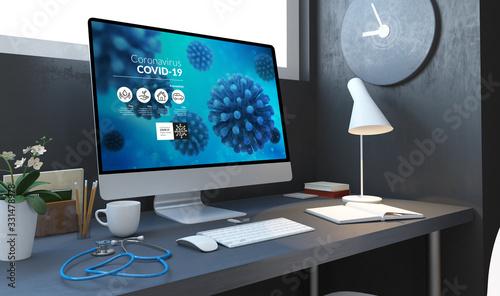 Fototapeta medical desktop covid-19 info website obraz