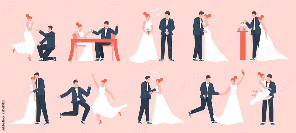 Fototapeta Wedding couple. Marriage bride and groom, newlyweds in love, young family dancing and celebrating, marriage ceremony vector illustration set. Bride and groom, wedding marriage love, dress newlywed