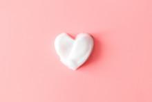 Heart From Soap Foam On Pink B...