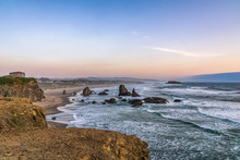 Bandon Beach Landscape Or Scenery At Dusk From Face Rock State Scenic Viewpoint, Pacific Coast, Oregon, USA.