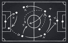 Chalk Soccer Strategy. Football Team Strategy And Play Tactic, Soccer Cup Championship Chalkboard Game Formation Vector Illustration Set. Blackboard And Chalkboard, Soccer Team Strategy