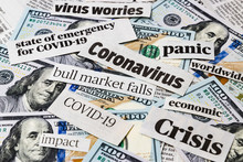 Coronavirus, Covid-19 News Headlines On United States Of America 100 Dollar Bills. Concept Of Financial Impact, Stock Market Decline And Crash Due To Worldwide Pandemic