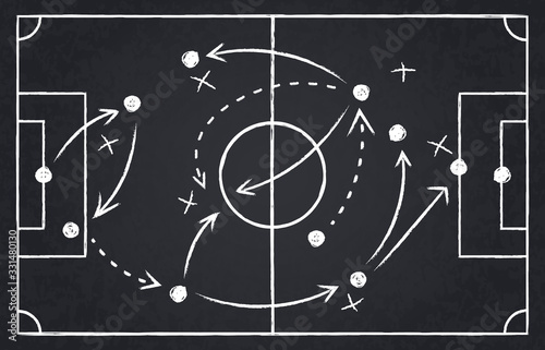 Fototapeta Chalk soccer strategy. Football team strategy and play tactic, soccer cup championship chalkboard game formation vector illustration set. Blackboard and chalkboard, soccer team strategy obraz