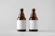 canvas print picture - Beer Bottle Mock-Up - Two Bottles. Blank Label