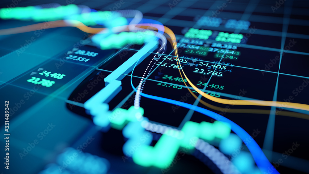 Fototapeta close up shot of a digital stock market tracking graph follwing a recent crash in prices. Bear market 3D illustration
