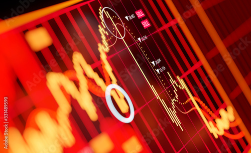 Fototapeta A graph showing large selling of global stock markets, crashing in 2020 on global fears including a pandemic and oil prices. 3D illustration obraz