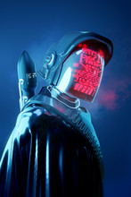 Strange Human Model In A Futuristic Space Outfit. Technology And People 3D Illustration.