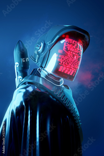 Fototapeta Strange Human model in a futuristic space outfit. Technology and people 3D illustration. obraz