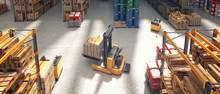 Top View Of A Forklift Truck Carrying A Pallet With Goods