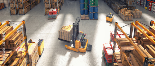 Fotografia top view of a forklift truck carrying a pallet with goods