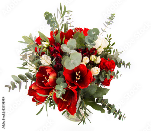 flower bouquet of red amaryllis and eucalyptus Fototapeta