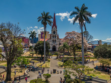 Beautiful Aerial View Of The Main Church In San Jose Costa Rica, La Merced And The Cathedral