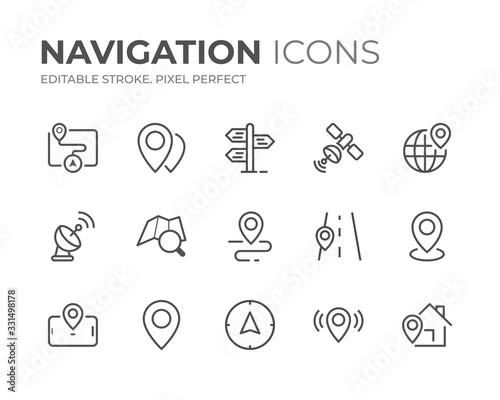 Leinwand Poster Navigation Line Icons Set
