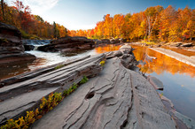 Fall Colors At Bonanza Falls On The Big Iron River In Michigan's Upper Peninsula.