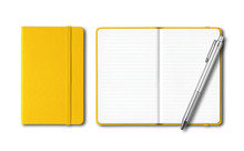 Yellow Closed And Open Notebooks With A Pen Isolated On White