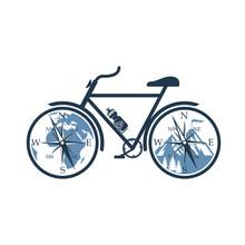 Emblem Of Bicycle With Mountai...