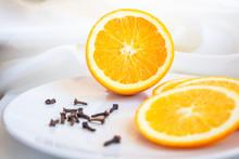 Orange And Lemon On Plate