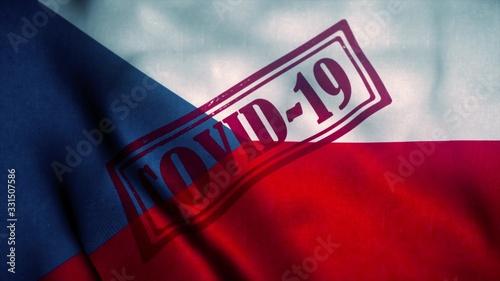 Obraz Covid-19 stamp on the national flag of Czech Republic. Coronavirus concept. 3d illustration - fototapety do salonu