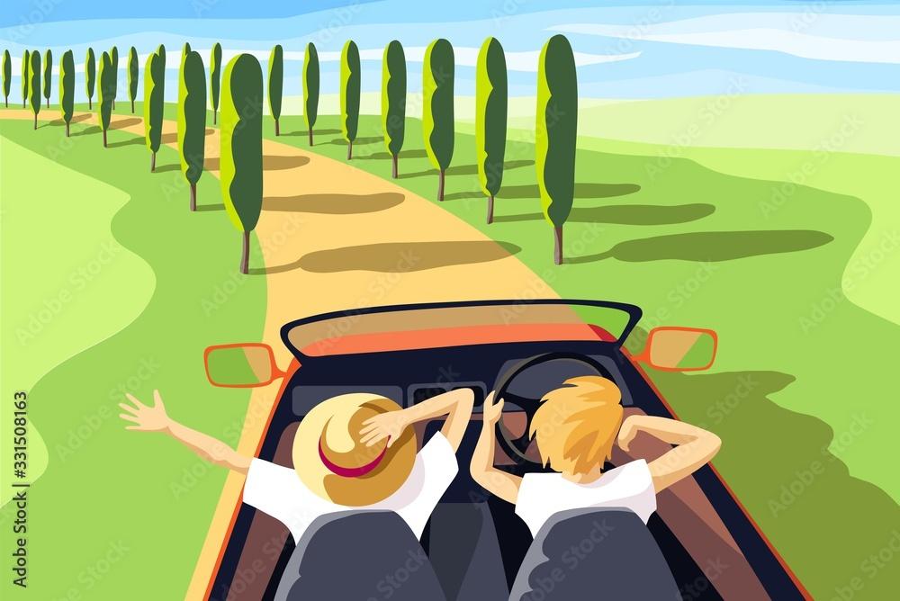 Fototapeta travel by car open top. color vector illustration