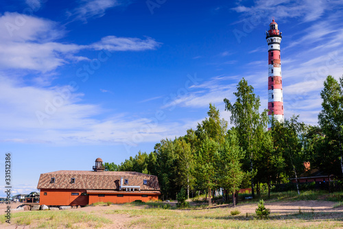 Fotografie, Obraz Osinovetsky lighthouse on the shore of lake Ladoga, Leningrad region, Russia