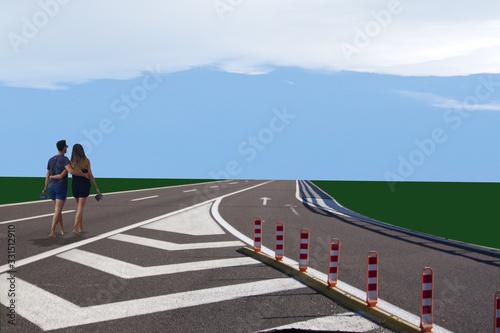 autostrada con coppia di giovani che si incammina verso l'orizzonte Canvas Print