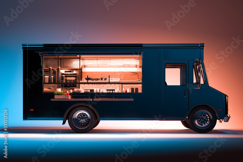 Obraz Side View of Black Food Truck With Detailed Interior Isolated on Illuminated Background. Takeaway food. 3d rendering. - fototapety do salonu