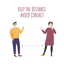 Social Distancing. Keep The Distance And Avoid Contact In Public Society. Protect From COVID-19 Coronavirus. Vector Flat Cartoon Illustration
