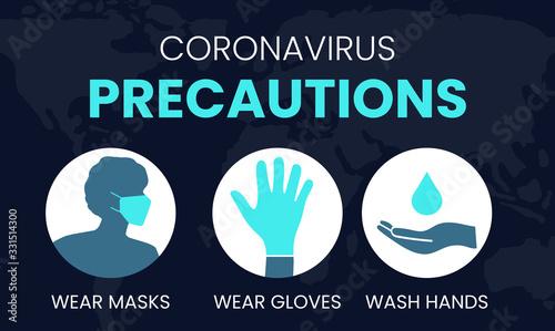 Coronavirus Precautions Wear Masks, Gloves, Wash Hands Illustration Fototapet