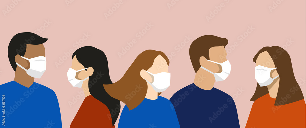 Fototapeta Group of simple flat design people with face masks, protection from disease or pollution