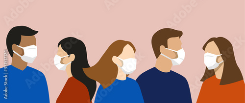 Fotografiet Group of simple flat design people with face masks, protection from disease or p