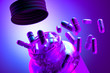 Leinwanddruck Bild - White Pills Spilling From Transparent Bottle With Medicine on Neon Background, 3d rendering.