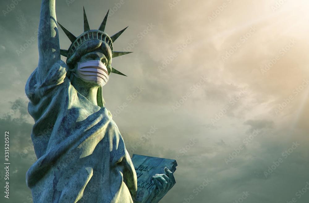 Fototapeta Coronavirus in the United States. 3D Statue of Liberty in medical mask. Pathogen coronavirus flu covid-19 outbrake in United States of America, corona virus pandemic US quarantine background concept
