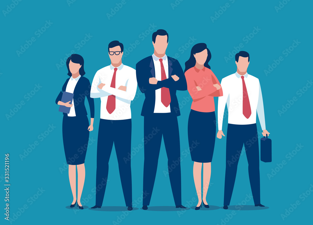 Fototapeta Successful team of five people. Business vector illustration.
