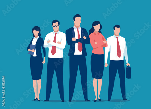 Successful team of five people. Business vector illustration. Fototapet