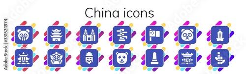 Photo china icon set