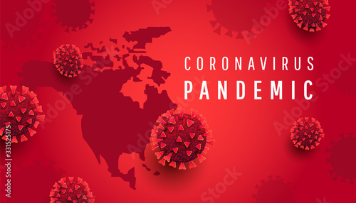 Obraz north america map with text and virus bacteria on a red background. Novel coronavirus 2019-nCoV. Flu spreading of world, dangerous chinese ncov corona virus - fototapety do salonu