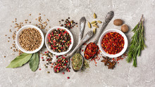 Different Spices, Dry Kitchen Herbs And Seeds For Tasty Meals