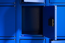 Blue Safe Deposit Boxes With O...