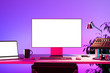 Audio Mixing Console, Laptop, PC With Big Blank White Monitor, Keyboard and Computer Mouse at Desk. 3d rendering