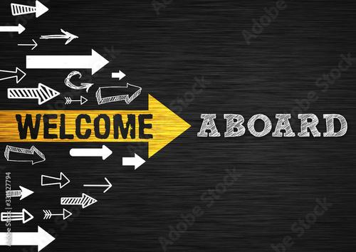 Welcome Aboard - chalkboard message Canvas Print