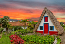 Madeira Island Rural Traditional House Sunset Village Landscape, Portugal, Santana