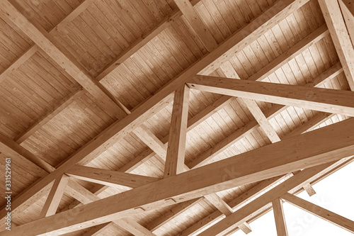 Fotografie, Tablou The construction of the wooden roof