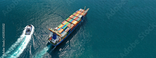 Aerial drone top down photo of fully loaded large truck size container tanker sh Fototapete