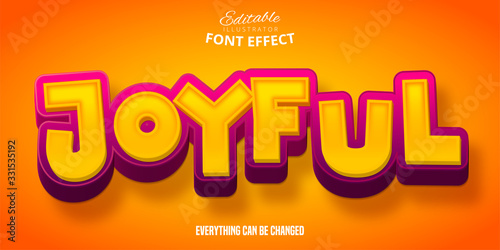 Fototapeta Joyful text, 3d editable font effect obraz