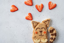 Funny Cute Cat Sandwich With Peanut Butter, Banana And Strawberry For Kids