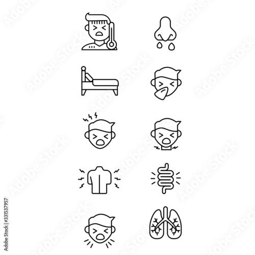 sick icons fever bed runny nose sneezing headache sore throte backache intestine Tapéta, Fotótapéta