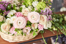 Spring Bouquet In A Wicker Basket.. Learning Flower Arranging, Making Beautiful Bouquets With Your Own Hands. Flowers Delivery
