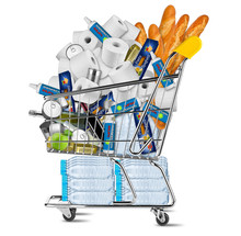 Hamster Purchse Panic Shopping Coronavirus Crisis Concept. Shop Cart Filled With Disinfection Spray Pasta Toilet Paper Water Food Wine Beverages Isolated White Background