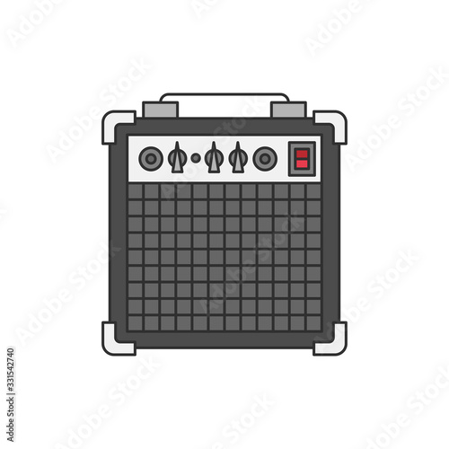 Photo Bass or guitar amplifier illustration isolated on white