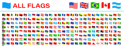 All World Flags - Vector Waving Flat Icons. 2020 versions of flags
